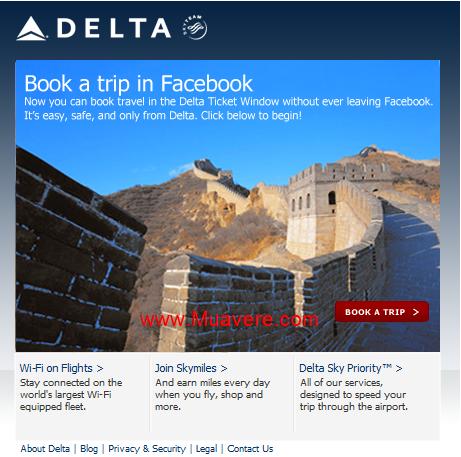 Giao diện đặt vé trên facebook của Delta Airlines.