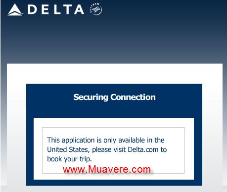 Đặt vé máy bay trên facebook của Delta Airlines ở Việt Nam chưa sẵn có.