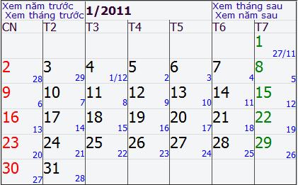 Lịch âm từ ngày 27/11 âm của năm CANH DẦN 2010 cho đến 28/12 của năm CANH DẦN 2010. Ảnh chụp màn hình.
