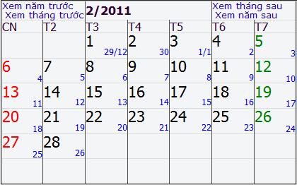 Lịch tết từ ngày 29 tháng chạp năm CANH DẦN 2010 cho đến 26 tháng Giêng năm TÂN MÃO 2011. Ảnh chụp màn hình.