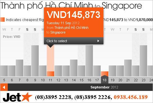 Giá vé đi Singapore chỉ 146.000đ/chiều. Ảnh chụp màn hình.