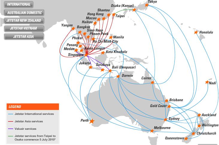 Mạng bán vé máy bay Jetstar toàn cầu