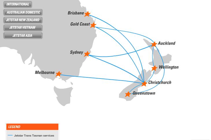 Mạng bán vé máy bay Jetstar Zealand