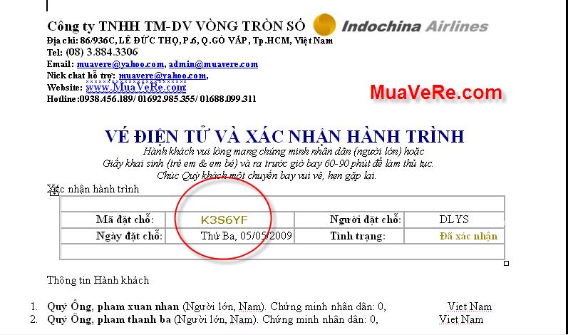 Vé điện tử của Indochina Airlines
