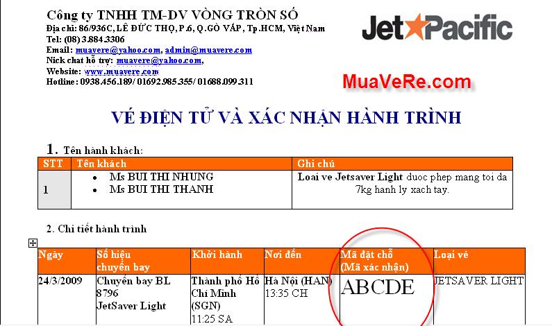 Vé điện tử của Jetstar