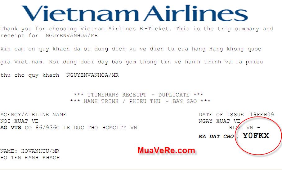 Vé điện tử của Vietnam Airlines