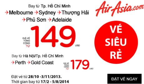 Vé máy bay AirAsia, Airasia X giá rẻ