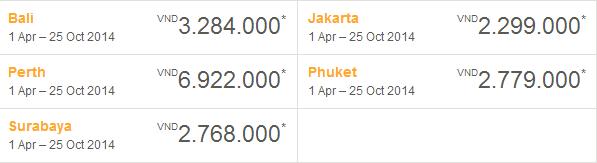 Bảng giá khuyến mại Tiger Air 13-1-2014
