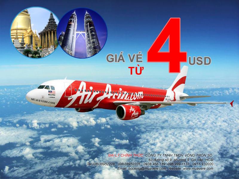 Ve may bay di Bangkok Malaysia 4 USD