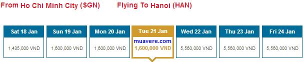 Vé tết giá rẻ 2014 của Việt Nam Airlines đang bán giá 1.400.000 . Ảnh: muavere.com.