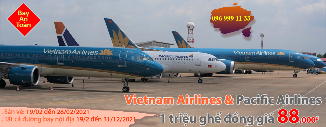 Vietnam Airlines va Pacific Airlines 1 trieu ghe dong gia 88000