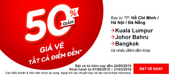 AirAsia giảm giá 50%