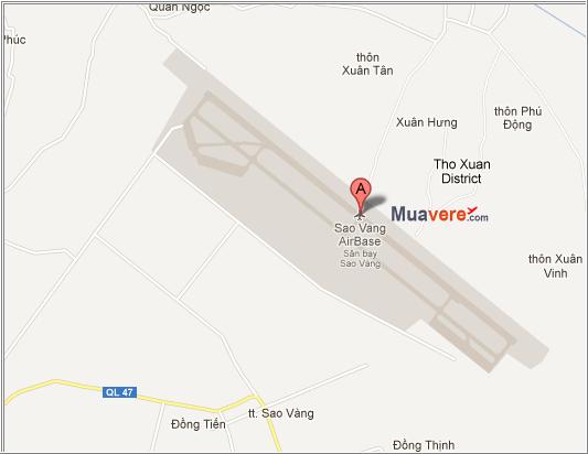 Bản đồ sân bay Sao Vàng, Thọ Xuân, Thanh Hóa.