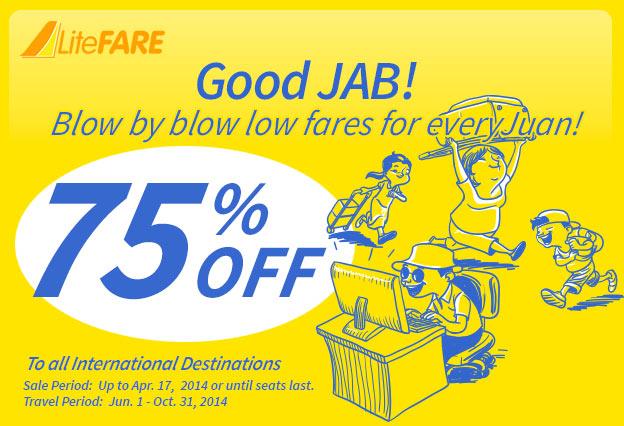 Cebu Pacific giảm giá 75% tháng 4/2014
