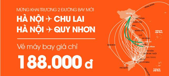 Hà Nội - Quy Nhơn và Hà Nội - Chu Lai 188.000đ. Ảnh: Jetstar.