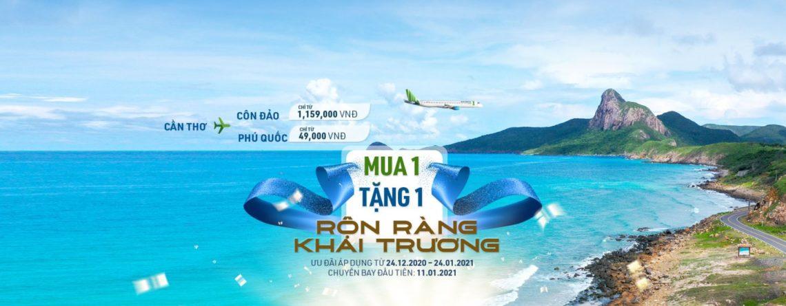 Bamboo Airways khuyến mại mua chiều đi tặng chiều về nhân dịp mở đường bay mới Cần Thơ – Côn Đảo và Cần Thơ – Phú Quốc