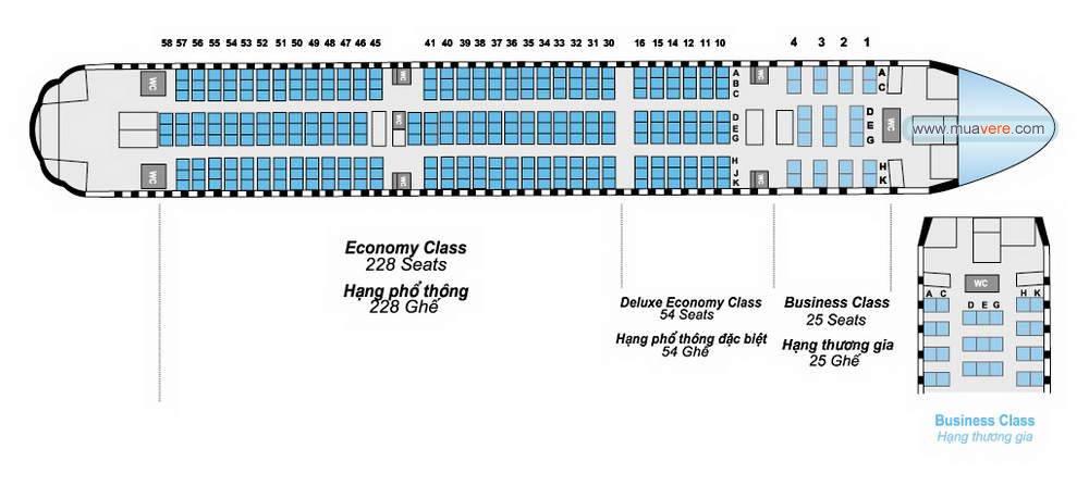 seat map, so do cho ngoi tren may bay Vietnam Airrlines