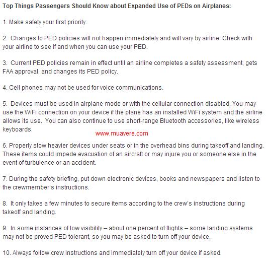 FAA nói về 10 điều mà hành khách nên biết về quy định mới này.